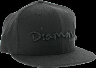 "DIAMOND OG SCRIPT HAT 7"" BLK/BLK"