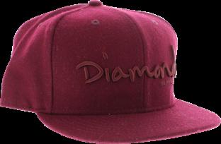 """DIAMOND OG SCRIPT HAT 7-3/4"""" BURGUNDY"""