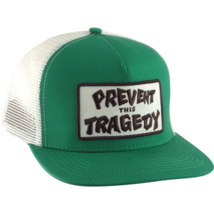 THRASHER PREVENT THIS TRAGEDY MESH HAT ADJ-GRN/WHT