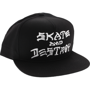 THRASHER SKATE & DESTROY EMB HAT ADJ-BLK/WHT