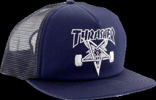 THRASHER SK8 GOAT MESH HAT ADJ-NAVY/WHT