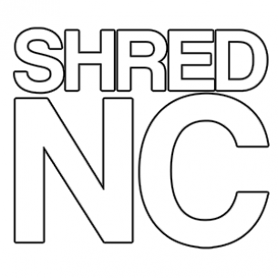 "SHRED STICKERS - SHRED NC WHT 5""x4.5"" single"