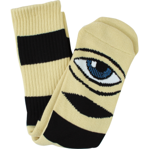 TM SECT EYE BIG STRIPE CREW SOCKS-CAMEL 1pr