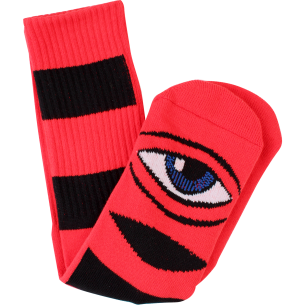 TM SECT EYE BIG STRIPE CREW SOCKS-RED 1pr