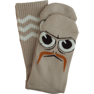 TM TURTLE BOY STACHE CREW SOCKS GREY 1 pair