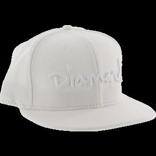 """DIAMOND OG SCRIPT HAT 7-5/8"""" WHT/WHT"""