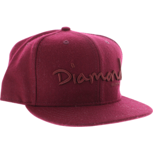 "DIAMOND OG SCRIPT HAT 7-3/4"" BURGUNDY"