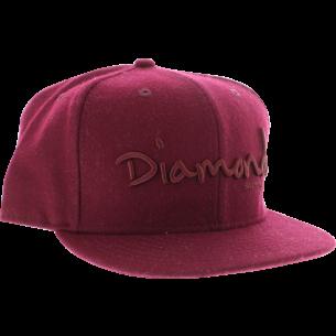 """DIAMOND OG SCRIPT HAT 7-7/8"""" BURGUNDY"""