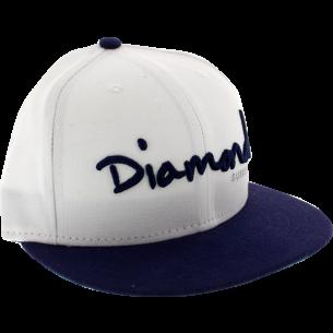 """DIAMOND OG SCRIPT HAT 7-1/8"""" WHT/NAVY"""
