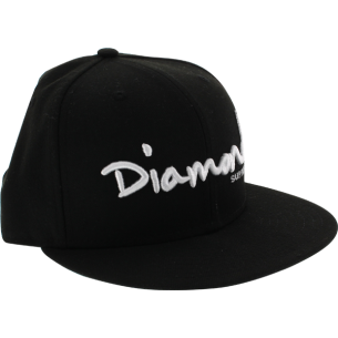 """DIAMOND OG SCRIPT HAT 7-3/8"""" BLK/WHT"""