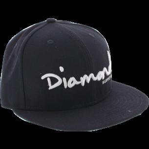 """DIAMOND OG SCRIPT HAT 7-3/8"""" NAVY/WHT"""