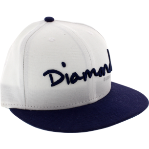 "DIAMOND OG SCRIPT HAT 7-3/8"" WHT/NAVY"