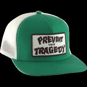 THRASHER PREVENT THIS TRAGEDY MESH HAT ADJ-GRN/WHT