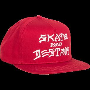 THRASHER SK8 & DESTROY HAT ADJ-BLOOD RED