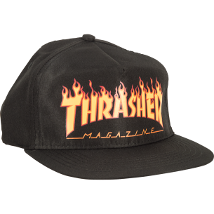 THRASHER FLAME LOGO HAT ADJ-BLACK