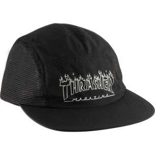 THRASHER FLAME OUTLINE 5 PANEL HAT ADJ-BLACK