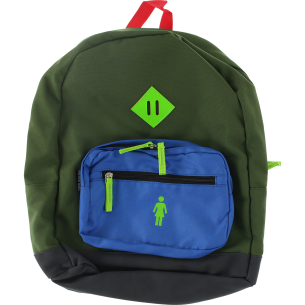 GIRL SCHOOL YARD BACKPACK OLIVE/ROYAL/NEON
